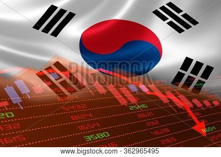 3d Rendering Of South Korea Economic Downturn With Stock Exchange Market Showing Stock Chart Down An