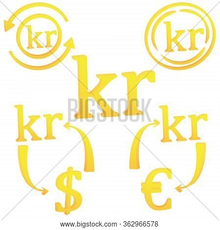 3d Norwegian Krone Currency Symbol Icon Vector Illustration On A White Background