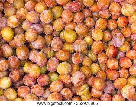 Fresh Yellow Plums. Food. Top View Natural Texture. Macro Photo. Image Fruit Product. Close-up. Ripe