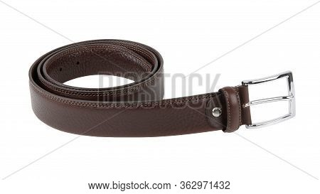 New Dark Brown Black Leather Belt With Nickel Buckle. Without  Shadows. Isolated On White Background
