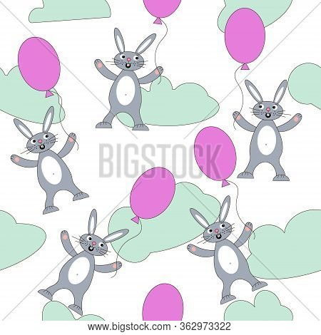 Bunny, Rabbit Animated Emotions Isolated Vector Illustration. Happy Smile Pattern Concept Illustrati