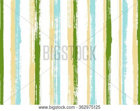 Ink Hand Drawn Straight Lines Vector Seamless Pattern. Traditional Bedding Textile Print Design. Scr