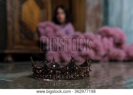 Crown With Woman On Background. Destroying Human Ego, Self Assurance, Taking Off The Crown. Self-sat