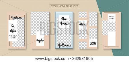 Modern Stories Vector Background. Blogger Funky Frame, Social Media Kit Template. Trendy Sale, New A