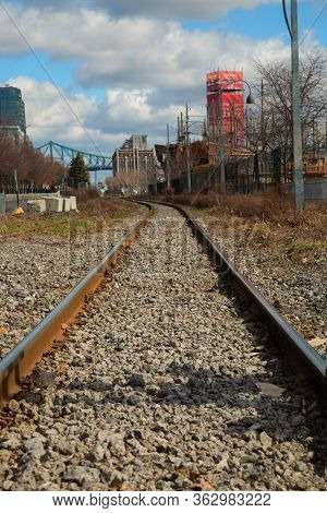 MONTREAL-CANADA, APRIL 15, 2020: Canada has a large and well-developed railway system that today transports primarily freight with two major companies, Canadian National and Canadian Pacific