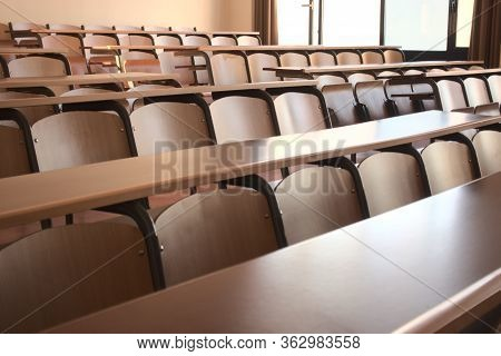 Shot Of Empty Highschool Classroom Due To Measures Taken Regarding Global Pandemic Covid 19 With Bla