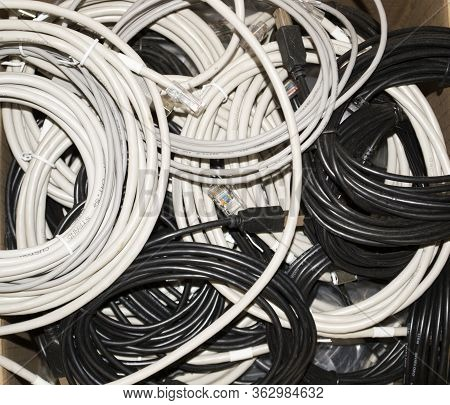 Background Of Black And White Network Wires With Rj45 Connector