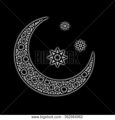 White crescent moon and stars on black background