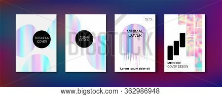 Holographic Gradient Vector Background. Hologram Business Soft Covers Set. Iridescent Gradient Overl