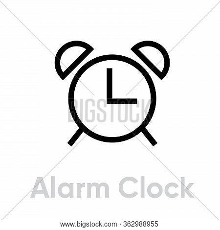 Alarm Clock Line Icon. Editable Vector Stroke.
