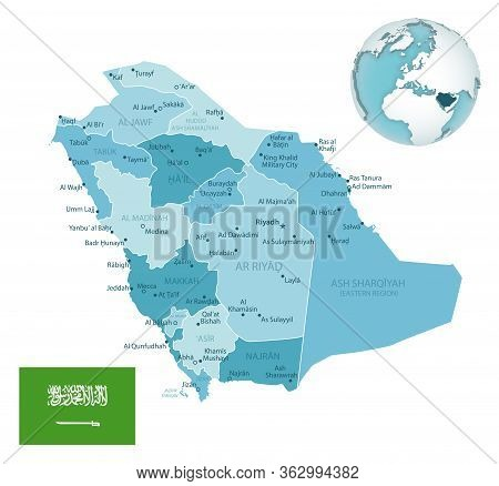 Saudi Arabia Administrative Blue-green Map With Country Flag And Location On A Globe.