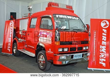 Pasay, Ph - April 7 - Isuzu Firetruck At Manila International Auto Show On April 7, 2018 In Pasay, P