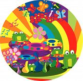 a psychedelic picture of mushroom frogs and rainbows. poster