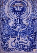 Detail of the traditional tiles (azulejos) from facade ofold house in Lisbon, Portugal poster