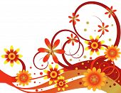 Autumn Colors are Featured in an Abstract Floral Vector Illustration. poster