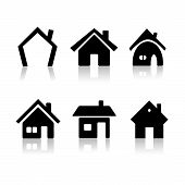 Set of 6 house icon variations on white background poster