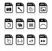 Web file types icons set - jpg, psd, html, css poster
