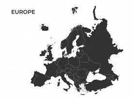 Europe Vector Map. Black Silhouette Isolated Template Map Separated All Countries Of Continent