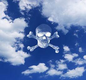 Stay At Home Because Of Coronavirus. Warning With A Skull Above Clouds