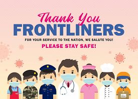Thank You Frontline Workers Who Work For Nation During Coronavirus (covid-19) Outbreak Season. Carto