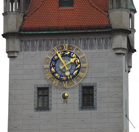 Zodiacal Signs On Tower Clock.