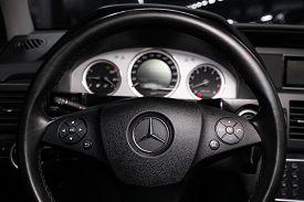 Novosibirsk/ Russia - April 04 2020: Mercedes-benz Glk-class, Close Up Car Interior: Steering Wheel