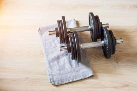 Dumbbell Pair Lie On The Floor With A Towel, Home Training