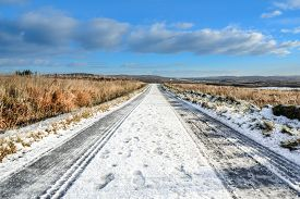Snow Covered Road, Icy Road Conditions, Travelling Through Scotland, Scottish Winter Landscape