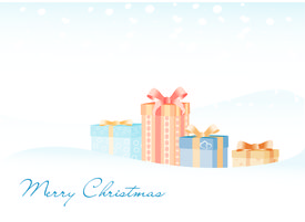 The gifts on the snow background with Marry Christmas sign