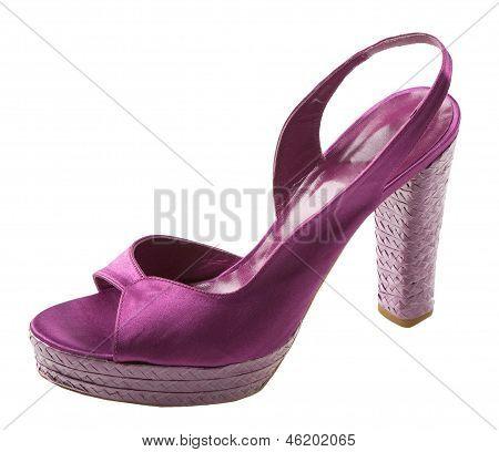 Purple Satin Peep Toe