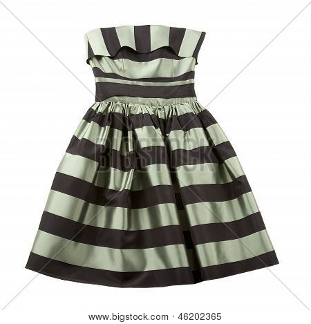 Striped Satin Puffed Strapless Dress