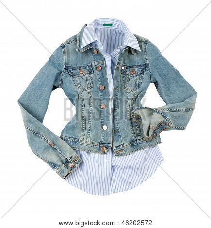 Denim Jacket With Striped Shirt