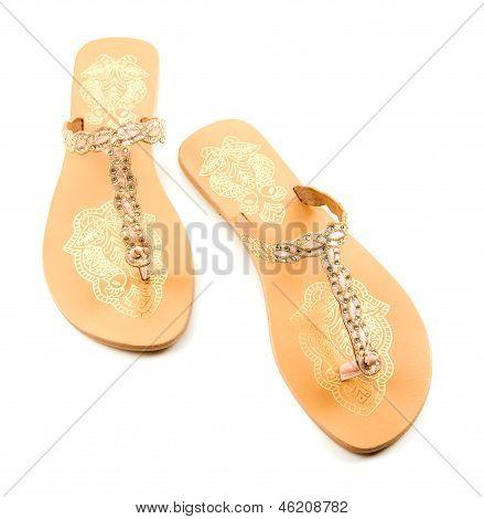 Golden Birds And Strass Flip Flop Sandals