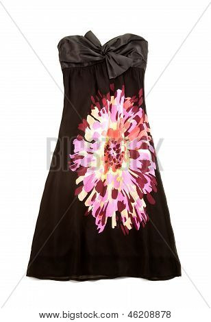 Strapless Black Dress With Big Colorful Flower