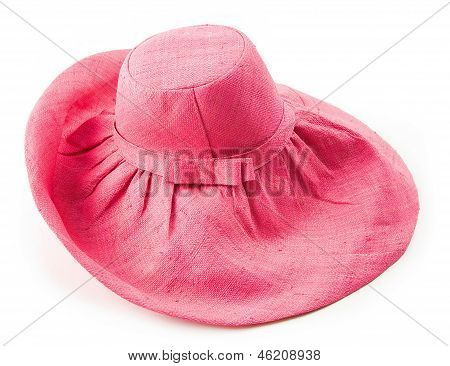 Bow Tie Strap Pink Raffia Floppy Hat