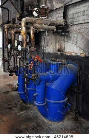 Old oil-fired boiler plant - industrial interior