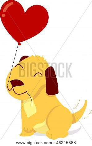 Valentine Puppy With Balloon