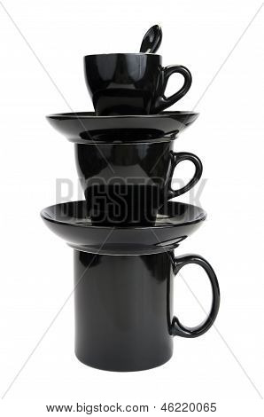 Black breakfast dishware