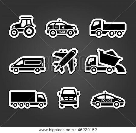 Set of sticky stickers, transport icons
