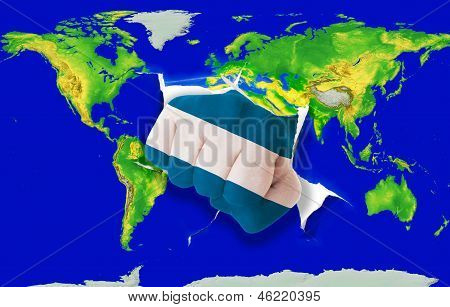 Fist In Color  National Flag Of El Salvador    Punching World Map