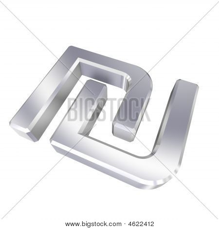 Chrome Sheqel Sign Isolated On White.