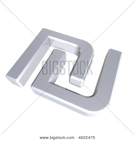 Silver Sheqel Sign Isolated On White.