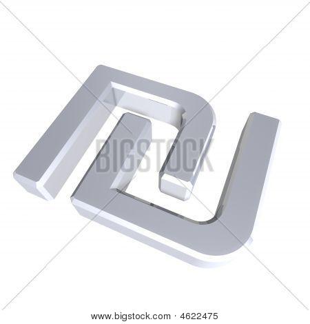 Silber Schekel, isoliert auf weiss.
