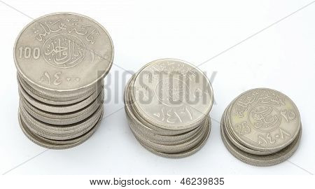 Collection of Saudi Coins Currency towers