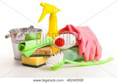 Bright colorful cleaning set isolated on a white background