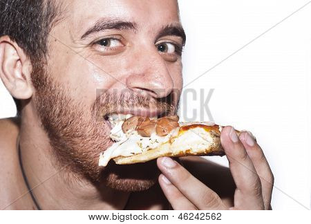 A Man Eating Pizza