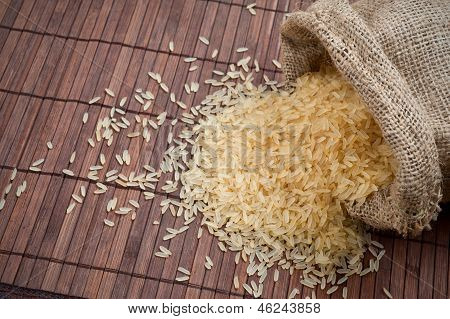 Rice In  Burlap Sack.