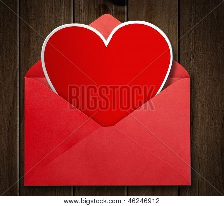 Red envelope with valentine heart.