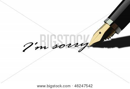 Pen writing I am sorry