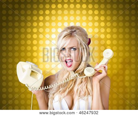 Blonde Girl Tangled In A Funny Phone Communication